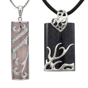 Dragon and Phoenix You and Me Rose Quartz, Midnight Blue Goldstone Platinum Overlay Sterling Silver Pendant Necklace Set