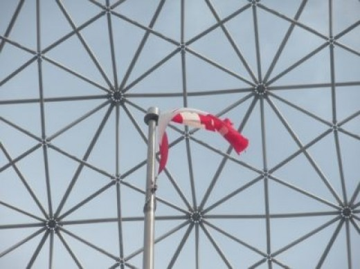 The Canadian Flag Flying at the Biosphere