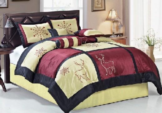 Deer and Snowflake Comforter Embroidered