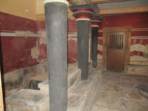Throne room in Minoan palace of Knossos.