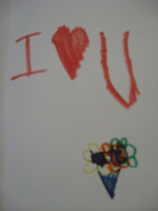 A card to Daddy from his little girl.