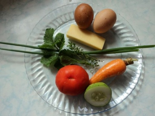 Rainbow Vegetable Omelet (Omelette) Ingredients