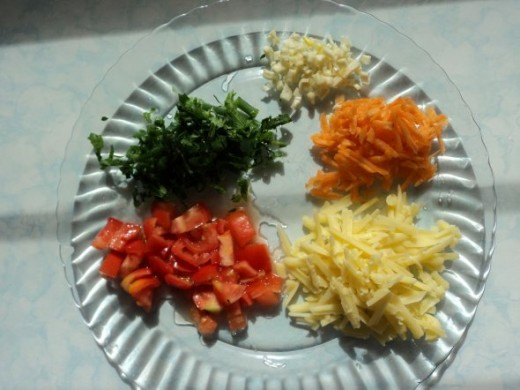 Chopped and Diced Rainbow Vegetable Omelet (Omelette) Ingredients