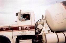 My husband in his concrete truck