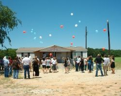 Releasing the balloons at my husband's memorial service