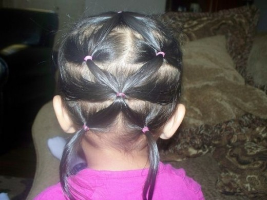 Hairstyle with small rubberbands