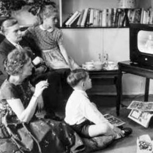 Family watching television in the 1960s