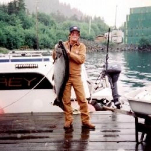 My husband with fish in Sitka, Alaska