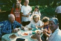 Camp get-together for dinner