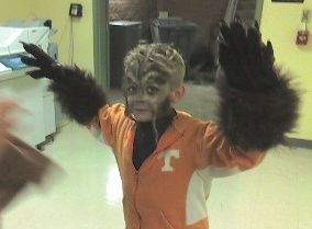 Child in a wolf man costume