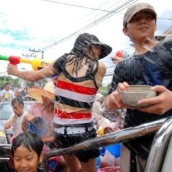 Shooting water guns at the Songkran Festival
