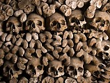 Roman catacombs, known for their passageways lined with bones consist of hundreds of connected tombs in Capuchin Crypt, Rome.