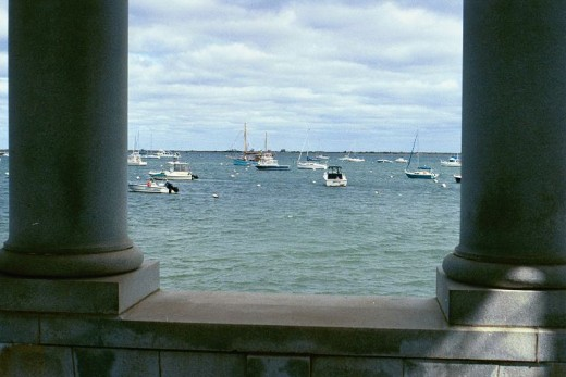 The view of the bay from Plymouth Rock