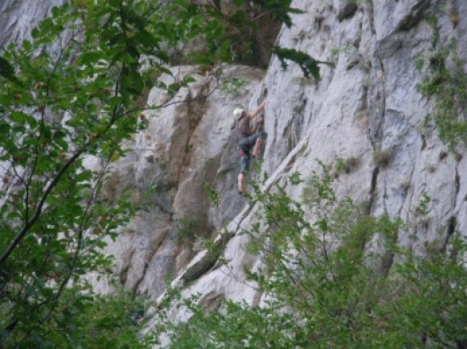 Rock climber in Velika Paklenica Canyon