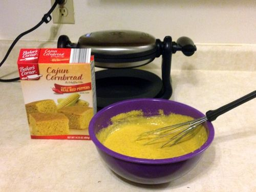 Prepare the cornbread batter per the mix's instructions on the box. You will also need leftover chili and shredded sharp cheddar cheese.
