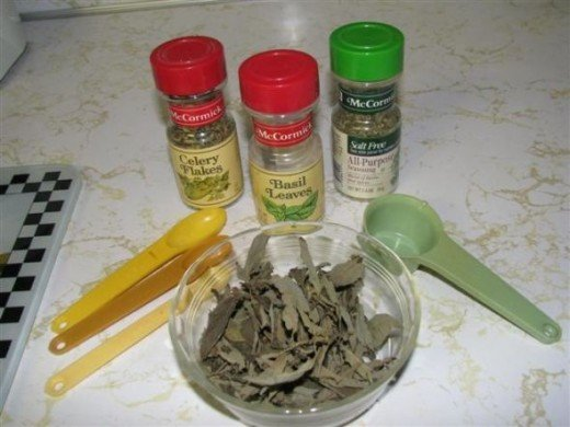 Dried herbs can be used, but fresh from the garden taste the best.  Use larger amounts of fresh herbs than dried.  Dried herbs are more concentrated.