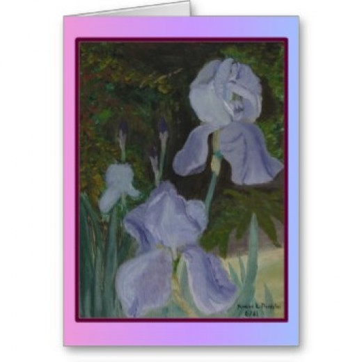 This painting was done in Mom's glorious yard which was filled with bearded irises and daylilies.