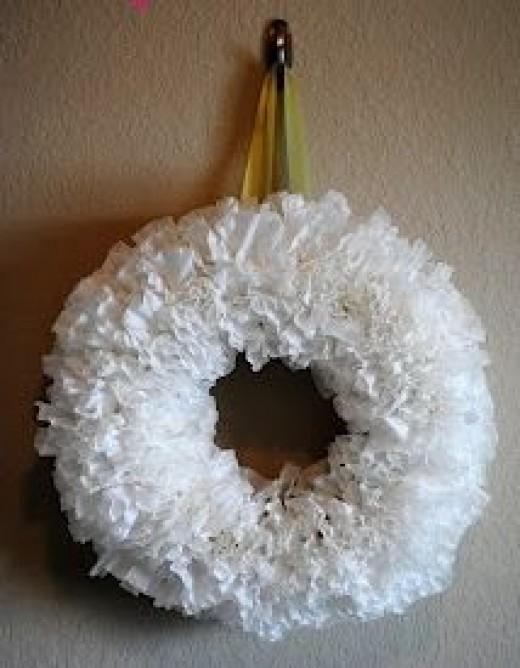Snowy White Coffee Filter Wreath