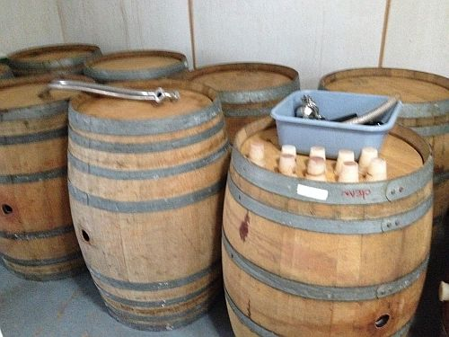Wooden barrel storage.