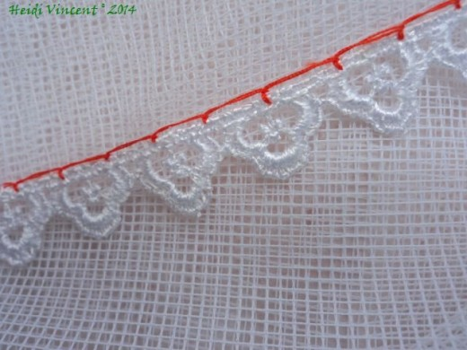 White Tulle - Lace Edging - Blanket Stitch