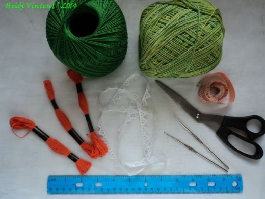 Crochet Thread - Embroidery Thread - 1.5 mm Crochet Hook - Scissors - Measuring Tape
