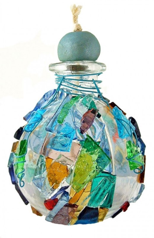 Decorative Glass Oil Lamp Crafted with Stained Glass Cobbles
