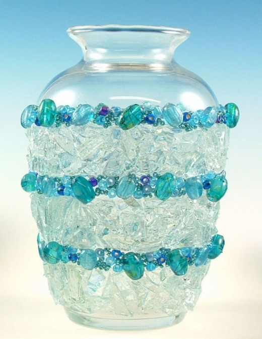 Recycled Glass Vase Decorated with Stained Glass Cobbles and Beads