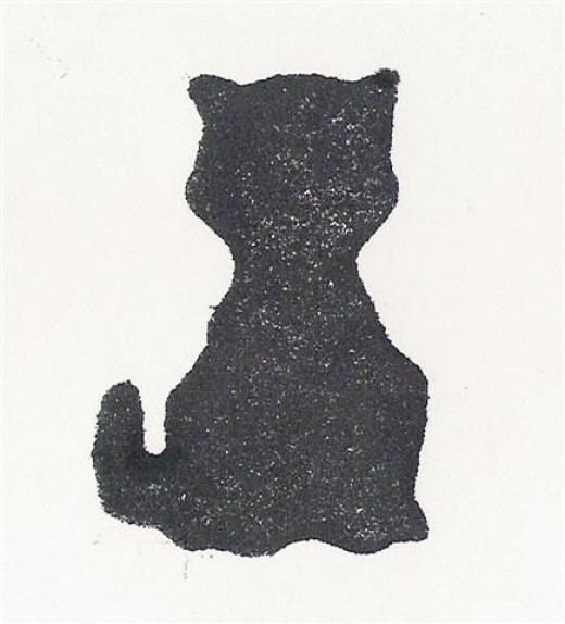 Here's the little cat stamped in black.
