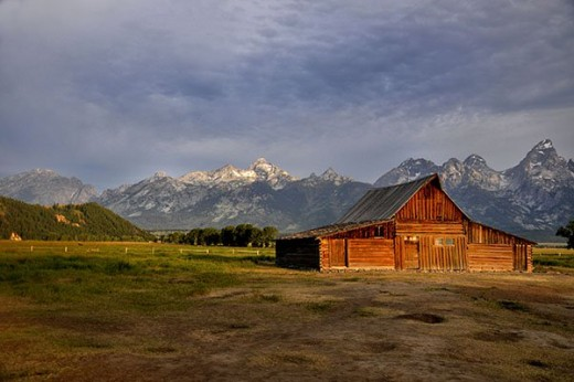 Moulton's Barn on Mormon Row with the Tetons behind