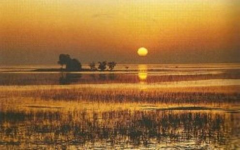 Sunrise over Manchar Lake