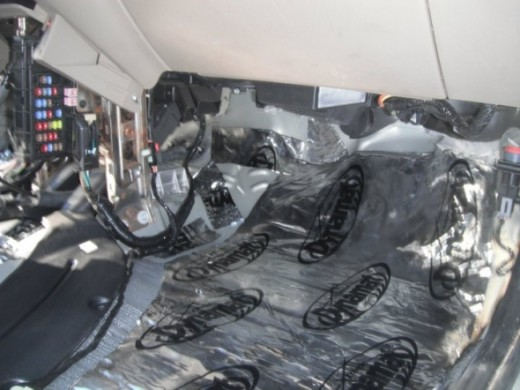 Firewall area passenger side with 1st layer (Dynamat Extreme)