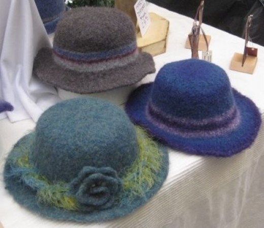 Some of My Hats at the Craft Fair