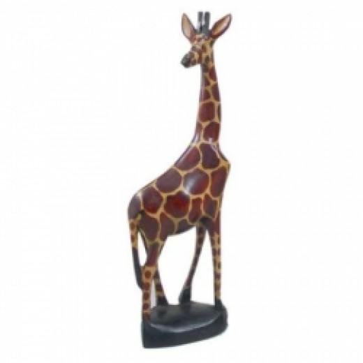Carved Wooden Giraffe Sculpture Statue