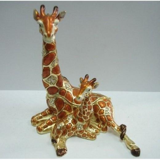 Resting Giraffe and Baby Figurine Jewelry Box