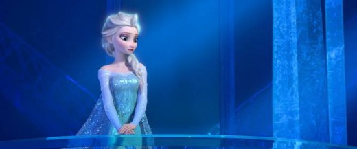 Queen Elsa in the ice palace she created - isolating herself from the outer world because she's afraid she might turn into a monster