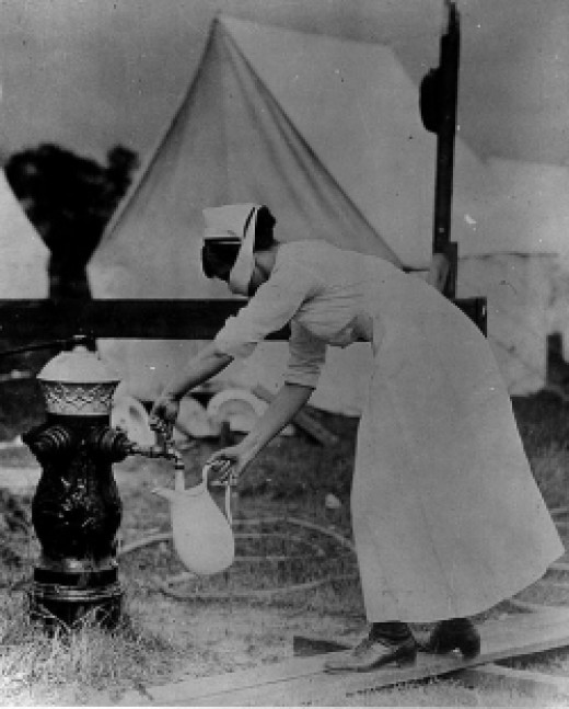 Influenza nurse getting water.