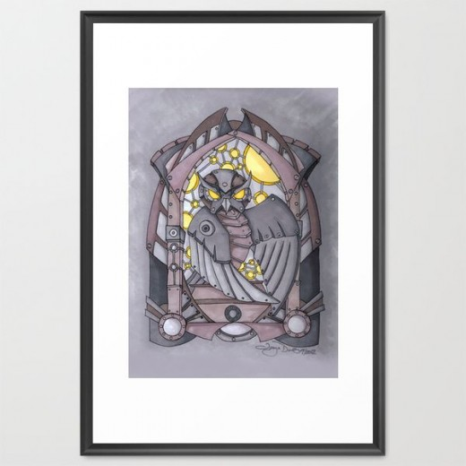 Deco-steam Owl Framed Art