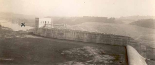 1950s view of Franklin Falls Dam wth 'x' marking former location of Forest Vale Camp for Girls.