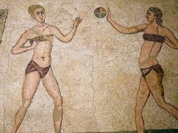 3rd Century mosaics of Bikini Girls at the Villa Romana at Piazza Armerina in Sicily