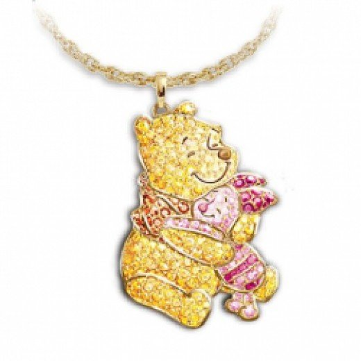 Disney Winnie The Pooh And Piglet Crystal Pave Pendant Necklace by The Bradford Exchange