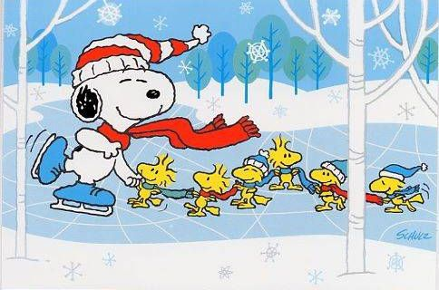 Snoopy and Woodstock Ice Skating