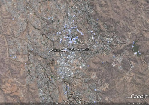 This is my city. Windhoek. Courtesy Google Earth. Notice the dull and dry surroundings from 11km's up. Haha...