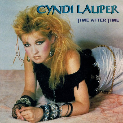 """A promotional pic for her single, """"Time After Time."""""""