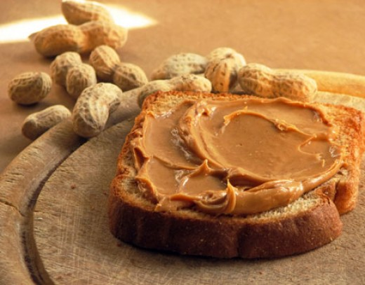 Peanut butter on whole wheat bread