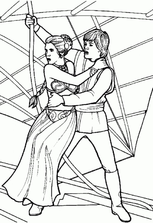 Luke Skywalker and Princess Leia Coloring Page