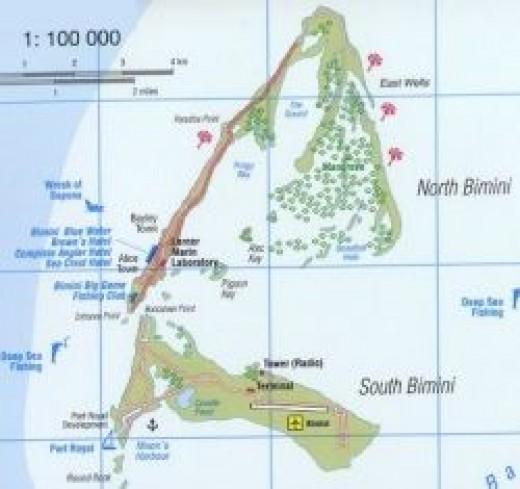 A map of Bimini, the Bahamas