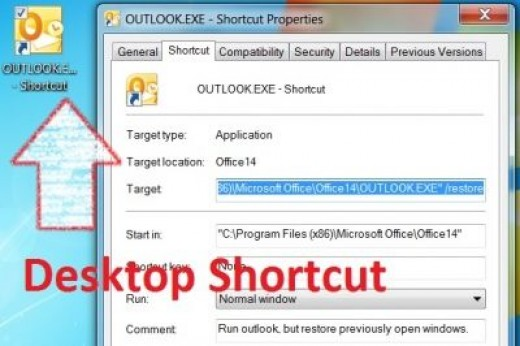 The shortcut to use, to restore the last Outlook 2010 session (Steps 6-7)