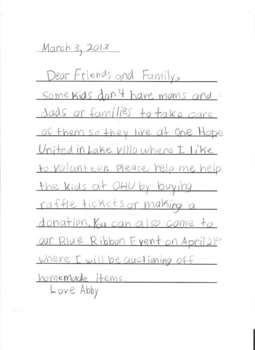 Each year since she was five, Abby writes a letter to friends and family asking them to buy raffle tickets and support One Hope United.