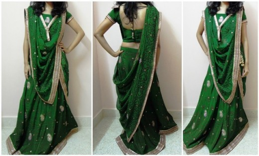 V Pallu Dupatta Draping Option