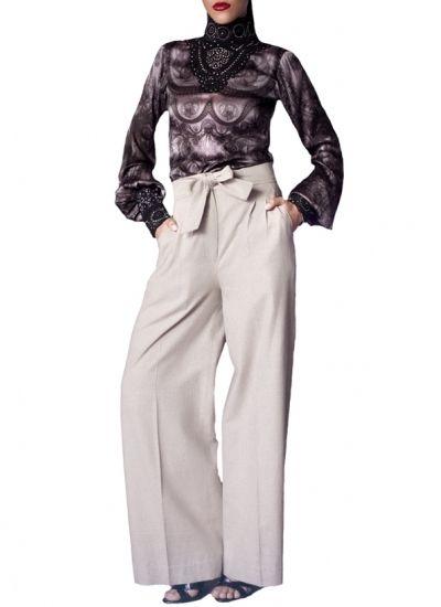 High-waist Pants + Sheer Shirt